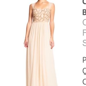 NWT Adrianna Papell Chiffon Dress w Beading Bodice